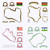 Colors of Libya, Kenya, Liberia and Lesotho. Outline map of Libya, Kenya, Liberia and Lesotho. Border is marked with ribbon in national colors. The package Stock Photos