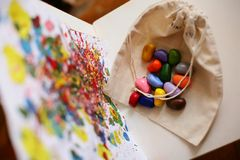 Colors of life. Child`s drawing. Colors of life. Color crayons Stock Image