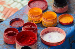 Colors for Life. These are the colors that's been used for one of the oldest folk dance of Karnataka (Yakshaghana Stock Photo
