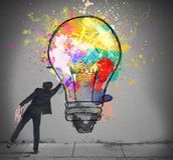 Colors a lightbulb Stock Photo