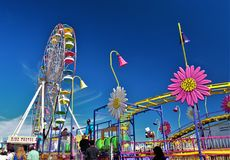 Dixie Classic Fair. Colors line the sky and the midway at the Dixie Classic Fair in Winston-Salem, North Carolina Stock Images