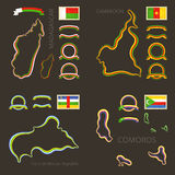 Colors of Madagascar, Cameroon, Central African Republic and Comoros Stock Image