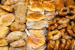 Colors of the market of Jerusalem in Israel. View of various breads sold in the market in Jerusalem in the morning Royalty Free Stock Images