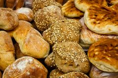 Colors of the market of Jerusalem in Israel. View of various breads sold in the market in Jerusalem in the morning Stock Photo