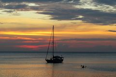 Colors merge in the sunset. In Koh Lanta Thailand Royalty Free Stock Photography