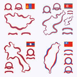 Colors of Mongolia, North Korea, Laos and Taiwan. Outline map of Mongolia, North Korea, Laos and Taiwan. Border is marked with ribbon in national colors. The Royalty Free Stock Photos
