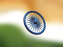 Dharmachakra. Ashoka Chakra. Wheel of the Dharma. Symbol from the flag of India. 3D rendering. Colors of the national flag of India. Three-dimensional image of Royalty Free Stock Photo