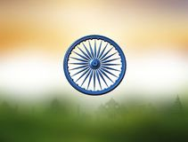 Dharmachakra. Ashoka Chakra. Wheel of the Dharma. Symbol from the flag of India. 3D rendering. Colors of the national flag of India. Three-dimensional image of Royalty Free Stock Photography