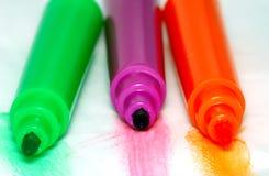 colors olika markörer Arkivbild