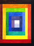 Colors Into One. Various shades of color rectangle bars lead slowly towards the center in this painting Royalty Free Illustration