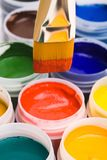 Colors with paintbrush Stock Images