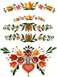 Colors painted ornament. Watercolor painted ornament of flowers Royalty Free Stock Image