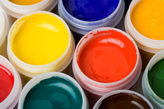 Colors and painting brushes. Stock Photos