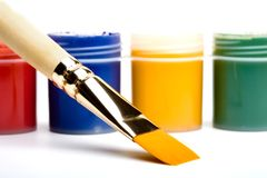 Colors and painting brushes. Stock Image
