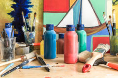Colors and paintings in a Atelier in Hamburg Altona Stock Photos