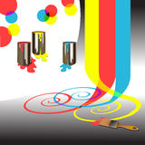 Colors - Paints and tools and mixing colors Stock Image