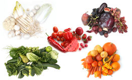 Colors palette. Five basic colors of fruits and vegetables Stock Photos