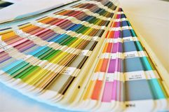 Colors. Palette used in printing houses and buildings industry to choose the proper color Stock Photos