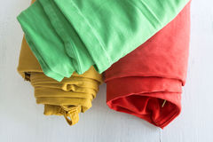 Colors pants on wooden table Stock Image