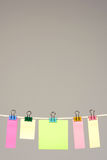 Colors paper on washing line Royalty Free Stock Photo