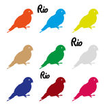 Colors parrots icons symbol and Rio text eps10 Royalty Free Stock Image