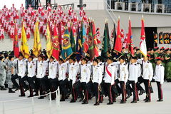 Colors party marching past during National Day Parade (NDP) Rehearsal 2013 Royalty Free Stock Photo