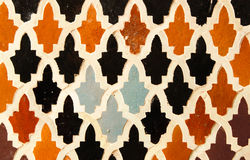 Colors and patterns. Details from an old wall in Fes royalty free stock photo