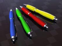 Colors Pen. A 3d colors pen, in carbon background Stock Images