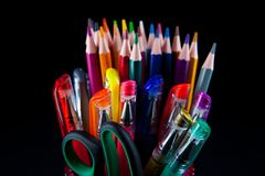 Colors pencil in glass with back background Royalty Free Stock Photo