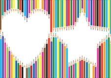 Color pencil love star shape Stock Image