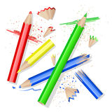 Colors pencils. Color pencils and peels over white vector illustration
