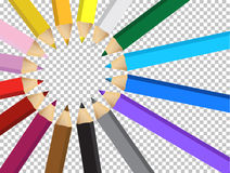 Colors pencils over a blank design layer Stock Images