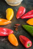 Colors of peppers royalty free stock photos