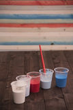 Colors on the plank. Colors on a wooden table  where you can write a message Stock Images