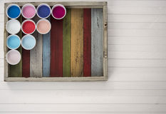 Colors on the planks. Colorful tray with colors on a white plateau where you can write a message Stock Photography