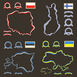 Colors of Poland, Finland, Estonia and Ukraine. Outline map of Poland, Finland, Estonia and Ukraine. Border is marked with a ribbon in the national colors. The Royalty Free Stock Image
