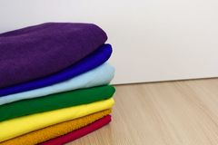 Stack of fabric on a shelf royalty free stock images