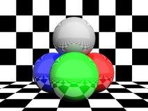 colors rgb-spheres Arkivfoto