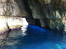 Colors of rocks and water in Malta. Stunning colors of rocks and water in Malta. See the  real Blue Grotto -blue light reflection from sunlight through caverns Royalty Free Stock Photography