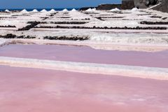 Colors during the salination evaporation process in the salt fields royalty free stock photos