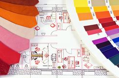 Colors and samples of skin on the scheme office stock photo