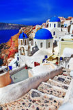 Colors of Santorini - Oia. View with church and caldera Royalty Free Stock Image