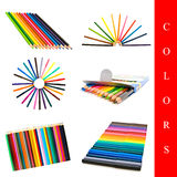 Colors set. Set of different pencils and felt-tips images over white background Royalty Free Stock Images