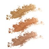Colors shade brown and golden tone eye shadow. Royalty Free Stock Photo