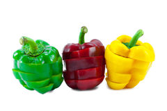 The Colors of Slicing Sweet Peppers Royalty Free Stock Photos