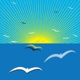colors soluppgång för det mörkerhorisontalnaturlig fotohavet Arkivfoton
