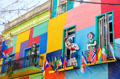 Colors and Statues. Colorful building and statues in La Boca neighborhood of Beunos Aires, Argentina royalty free stock image