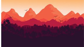 The Sunset and The Landscape stock illustration
