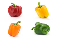 Colors of sweet pepper. Some different sweet pepper. Isolated Royalty Free Stock Photo