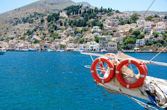 Colors of Symi town and lagoon Stock Photo